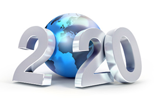 illustration of 3d numbers reading 2020, with the first zero represented as a globe