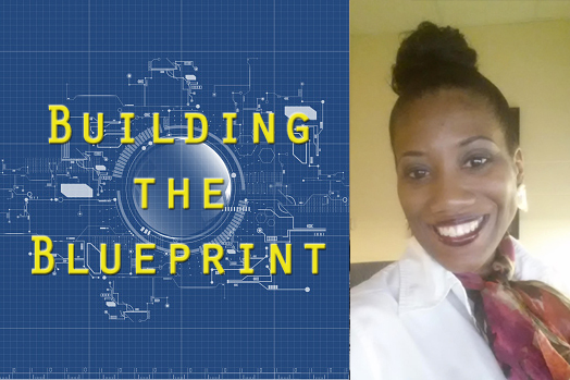 Building the Blueprint logo with photo of Monique.
