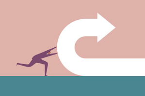 illustration of business figure pushing arrow in a u-turn
