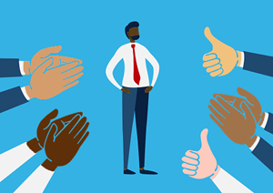 illustration of new employee surrounded by hands clapping and thumbs up