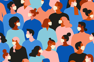 illustration of crowd of people wearing face masks