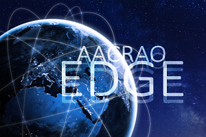 global communications network concept, text overlay: AACRAO EDGE