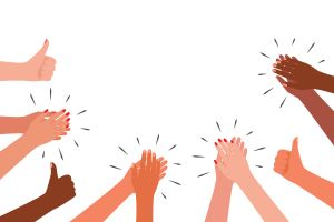 Applause and like group of people. Hands multicultural clap. Congratulations, cheering, winners
