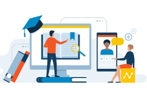 illustration of person standing on book looking at computer chatting with someone on smartphone, books leaning against monitor and graduation cap to the side