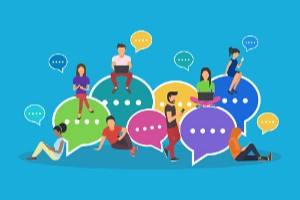 illustration of 8 people standing and sitting near chat bubbles