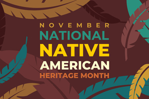 text reading november national native american heritage month again a brown and feather background