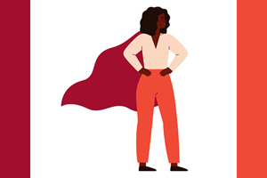 illustration of black woman in professional clothes and superhero cape