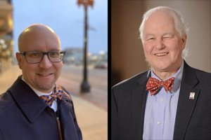 portraits of Trembley and von Munkwitz side by side, both wearing bowties