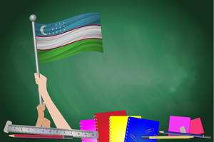 illustration of chalkboard with uzbek flag