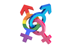 interlocking gender symbols in pink, blue, and rainbow