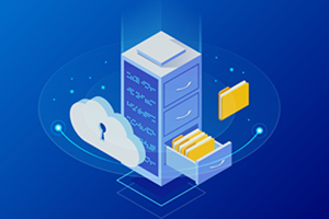 illustration of light blue filing cabinet on dark blue background. cabinet drawer is open and files are coming out. a cloud with a lock symbol is on it in front of the cabinet